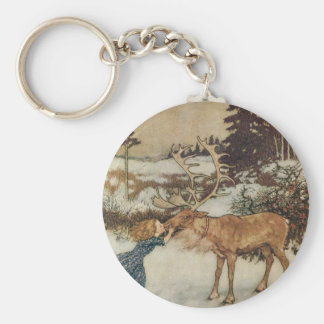 Vintage Gerda and the Reindeer by Edmund Dulac Key Chain