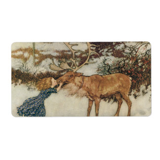Vintage Gerda and the Reindeer by Edmund Dulac Label