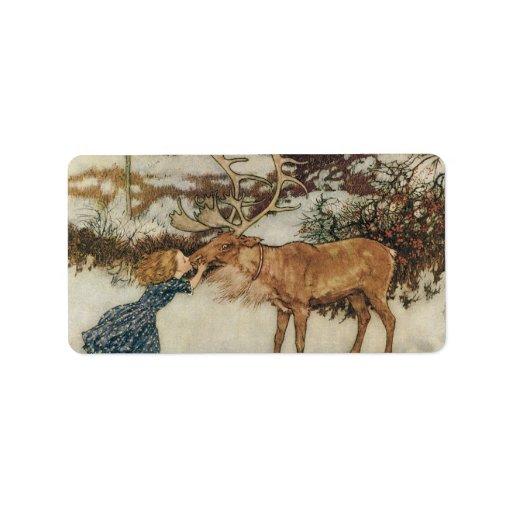 Vintage Gerda and the Reindeer by Edmund Dulac Address Label