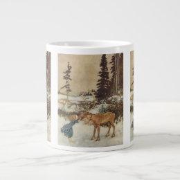 Vintage Gerda and the Reindeer by Edmund Dulac Large Coffee Mug
