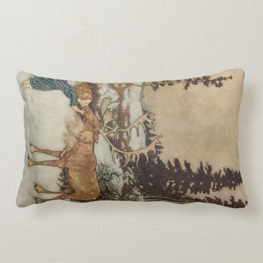 Vintage Gerda and the Reindeer by Edmund Dulac Lumbar Pillow