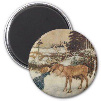Vintage Gerda and the Reindeer by Edmund Dulac Magnet