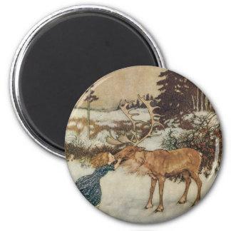 Vintage Gerda and the Reindeer by Edmund Dulac Fridge Magnet