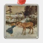 Vintage Gerda and the Reindeer by Edmund Dulac Metal Ornament