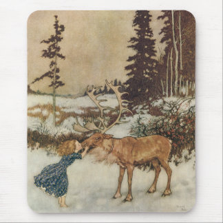 Vintage Gerda and the Reindeer by Edmund Dulac Mousepad