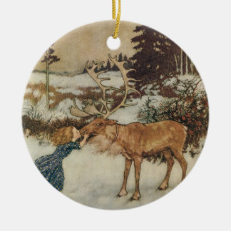Vintage Gerda and the Reindeer by Edmund Dulac Ornament