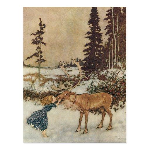 Vintage Gerda and the Reindeer by Edmund Dulac Post Card