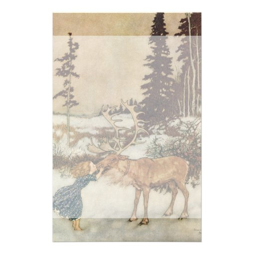 Vintage Gerda and the Reindeer by Edmund Dulac Personalized Stationery