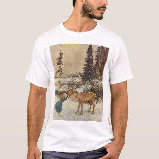 Vintage Gerda and the Reindeer by Edmund Dulac T-Shirt