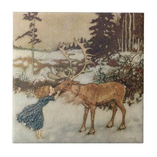 Vintage Gerda and the Reindeer by Edmund Dulac Tile