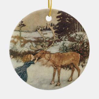 Vintage Gerda y el reno de Edmund Dulac Ornamentos De Reyes
