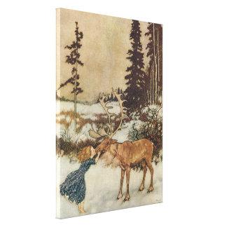 Vintage Gerda y el reno de Edmund Dulac Lona Envuelta Para Galerias