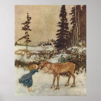 Vintage Gerda y el reno de Edmund Dulac Póster