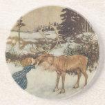 Vintage Gerda y el reno de Edmund Dulac Posavasos Manualidades