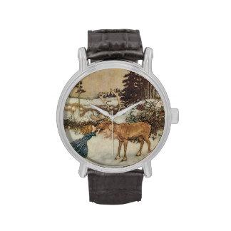 Vintage Gerda y el reno de Edmund Dulac Relojes De Pulsera