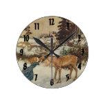 Vintage Gerda y el reno de Edmund Dulac Reloj Redondo Mediano