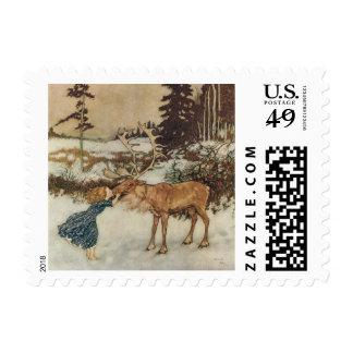 Vintage Gerda y el reno de Edmund Dulac Sello Postal