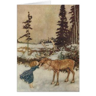 Vintage Gerda y el reno de Edmund Dulac Felicitaciones