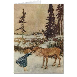 Vintage Gerda y el reno de Edmund Dulac Tarjeta De Felicitación