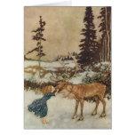 Vintage Gerda y el reno de Edmund Dulac Tarjetón
