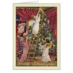 Vintage German Angels Christmas Card at Zazzle