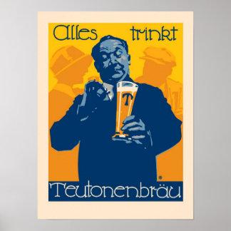 Vintage German Beer Advertisement Poster