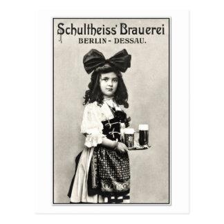 Vintage German Berlin beer brewery photo ad Postcard