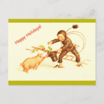 Vintage German Christmas Chimney Sweep & Pig Copy Holiday Postcard