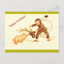 Vintage German Christmas Chimney Sweep & Pig Copy Holiday Postcard