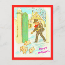 Vintage German Christmas Postcard copy Boy & Pigs