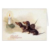Vintage German Dachshund New Year Greeting Card