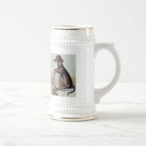 Vintage German Dachshund Print Beer Stein Mug