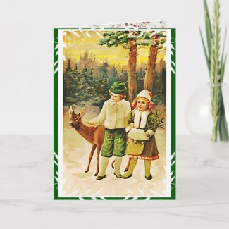 Vintage German Deer Woodland Christmas Card