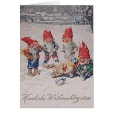 Vintage German Dwarfs  Elves Christmas Card at Zazzle