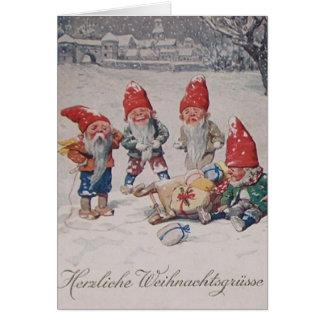 Vintage German Dwarfs  Elves Christmas Card