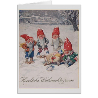 Vintage German Dwarfs / Gnomes Christmas Card