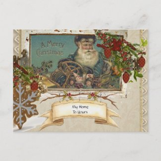 Vintage German Foil Country Santa Holiday Postcard