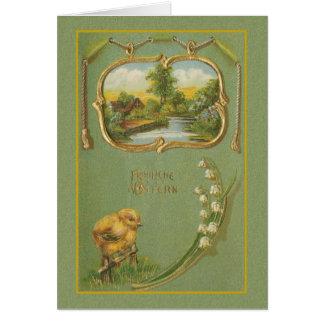 Vintage German Fr246hliche Ostern Easter Card