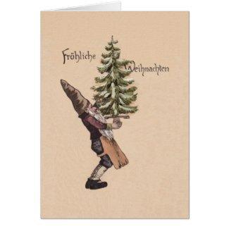 Vintage German Gnome Christmas Card