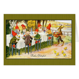 Vintage German Gnome Frohes Osterfest Easter Card