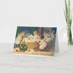 Weihnachtswünsche Modern.Vintage German Herzliche Weihnachtsgrüße Card