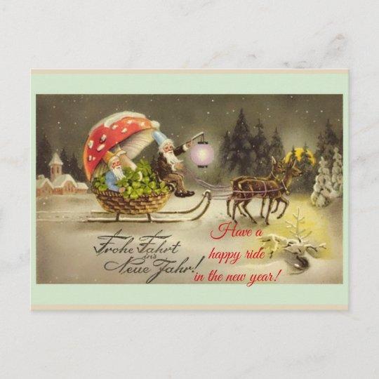 vintage german new year elves mushroom postcard