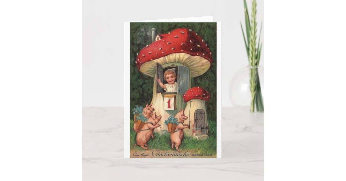 Vintage German New Year's Day Greeting Card | Zazzle.com