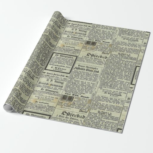 Vintage Newspaper Wrapping Paper | Zazzle
