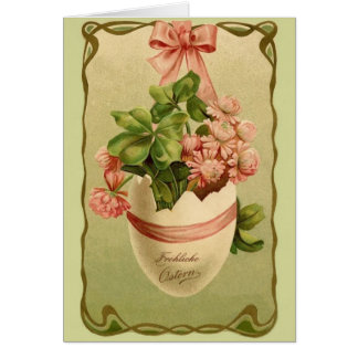 Vintage German Ornate Easter Egg Greeting Card