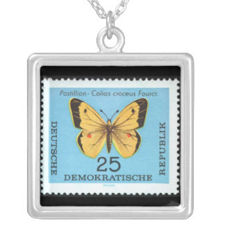 Vintage German Postal Stamp, Butterfly Silver Plated Necklace