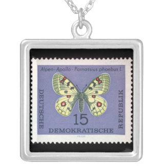 Vintage German postal Stamp Silver Plated Necklace