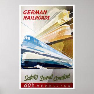 Vintage German Railroads Poster