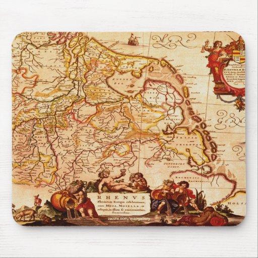 Vintage German Rhinelands Map Art Collection Mousepad