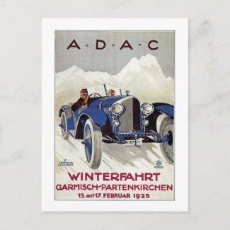 Vintage German Road Race Ad postcard